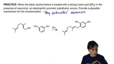 When the allylic alcohol below is treated with a strong Lewis acid (BF 3) in t...