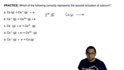 Which of the following correctly represents the second ionization of calcium? ...