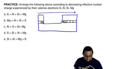 Arrange the following atoms according to decreasing effective nuclear charge e...