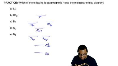 Which of the following is paramagnetic? (use the molecular orbital diagram)  a...