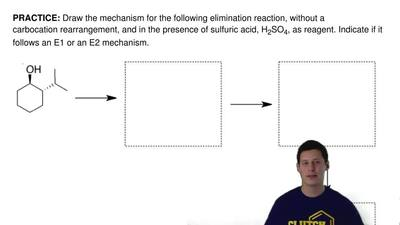Draw the mechanism for the following elimination reaction, without a carbocati...