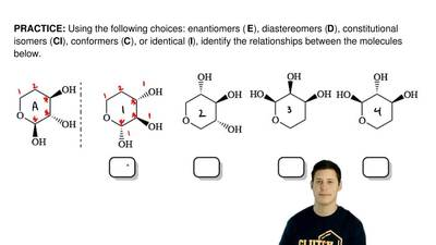 Using the following choices: enantiomers ( E), diastereomers (D), constitution...