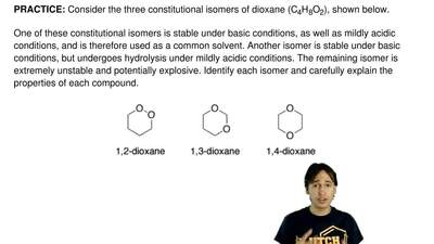 Consider the three constitutional isomers of dioxane (C 4H8O2), shown below.  ...