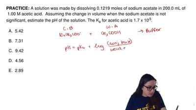A solution was made by dissolving 0.1219 moles of sodium acetate in 200.0 mL o...