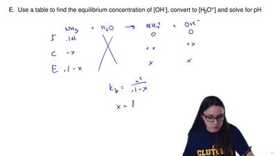 Given the concentration of a weak base solution and a K b value for the weak b...