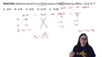 Determine the pH of a 0.100 M solution of NaBrO where K a (HBrO) = 2.8 X 10  -...