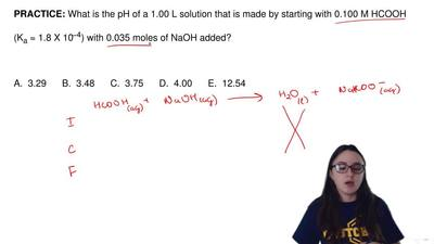 What is the pH of a 1.00 L solution that is made by starting with 0.100 M HCOO...