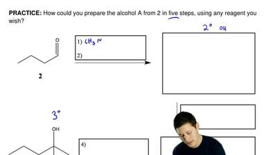 How could you prepare the alcohol A from 2 in five steps, using any reagent yo...