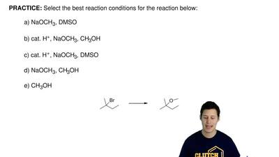 Select the best reaction conditions for the reaction below:  a) NaOCH3, DMSO  ...