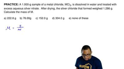 A 1.000-g sample of a metal chloride, MCl 2, is dissolved in water and treated...
