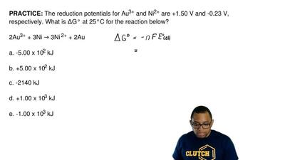 The reduction potentials for Au3+ and Ni2+ are +1.50 V and -0.23 V, respective...