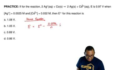 If for the reaction, 2 Ag+(aq) + Co(s) →  2 Ag(s) + Co2+(aq), E is 0.97 V when...