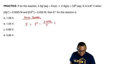 If for the reaction, 2 Ag+(aq) + Co(s) → 2 Ag(s) + Co2+(aq), E is 0.97 V when...