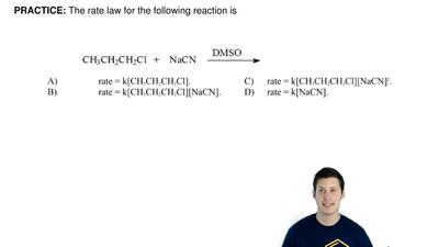The rate law for the following reaction is   ...