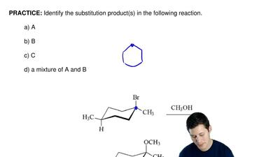 Identify the substitution product(s) in the following reaction.  a) A  b) B  c...