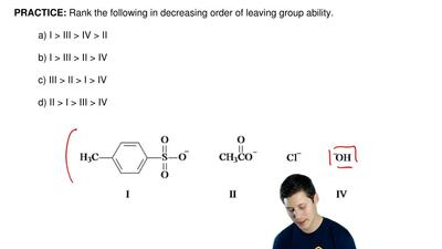 Rank the following in decreasing order of leaving group ability.  a) I > II...