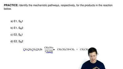Identify the mechanistic pathways, respectively, for the products in the react...