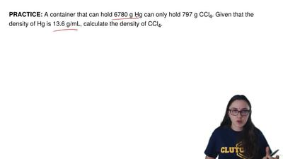 A container that can hold 6780 g Hg can only hold 797 g CCl4. Given that the d...