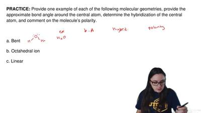 Provide one example of each of the following molecular geometries, provide the...