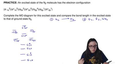 An excited state of the N2 molecule has the electron configuration  (σ1s2)(σ...