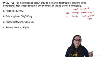 For the molecules below, provide the Lewis dot structure, draw the three dimen...