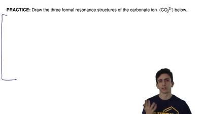 Draw the three formal resonance structures of the carbonate ion (CO32-) belo...
