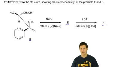 Draw the structure, showing the stereochemistry, of the products E and F. ...