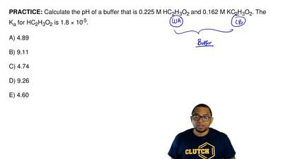 Calculate the pH of a buffer that is0.225 M HC2H3O2and0.162 M KC2H3O2.The...