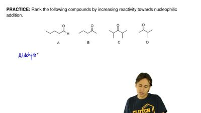 Rank the following compounds by increasing reactivity towards nucleophilic add...