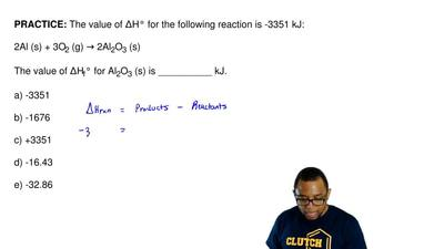 The value of ΔH° for the following reaction is -3351 kJ:  2Al (s) + 3O2 (g) → ...