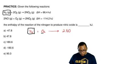 Given the following reactions  N2 (g) + 2O2 (g) → 2NO2 (g)   ΔH = 66.4 kJ  2NO...