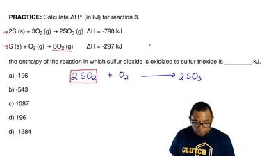 Calculate ΔH° (in kJ) for the reaction.  2S (s) + 3O2 (g) → 2SO3 (g)  ∆H = -79...