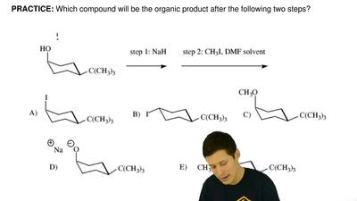 Which compound will be the organic product after the following two steps?    ...