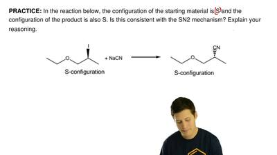 In the reaction below, the configuration of the starting material is S and the...