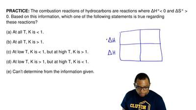 The combustion reactions of hydrocarbons are reactions where ΔH°< 0 and ΔS°...