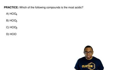 Which of the following compounds is the most acidic?     A) HClO4     B) HClO3...