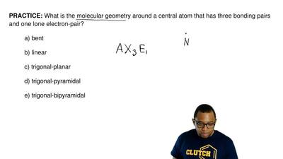 What is the molecular geometry around a central atom that has three bonding pa...