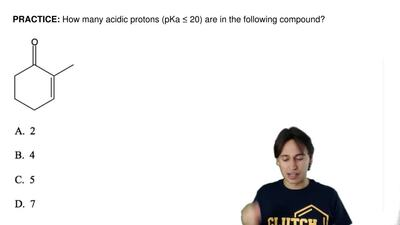 How many acidic protons (pKa ≤ 20) are in the following compound? ...