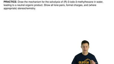 Draw the mechanism for the solvolysis of (R)-3-iodo-3-methylhexane in water, l...