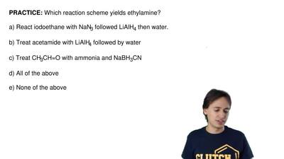 Which reaction scheme yields ethylamine?  a) React iodoethane with NaN3 follow...