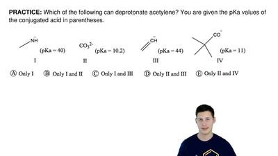 Which of the following can deprotonate acetylene? You are given the pKa values...