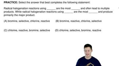 Select the answer that best completes the following statement:   Radical halog...