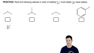 Rank the following radicals in order of stability (1 = most stable, 4 = least ...