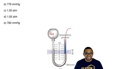 In diagram a, what is the pressure in the manometer if h = 2.00 cm and the bar...