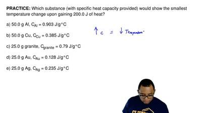Which substance (with specific heat capacity provided) would show the smallest...