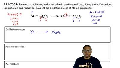 Balance the following redox reaction in acidic conditions, listing the half re...
