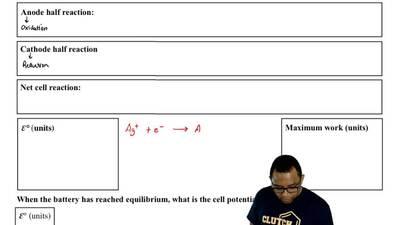 Consider a voltaic cell made up of Ag(s), 1M Ag(NO 3) (aq), 1M Cu(NO3)2(aq), ...