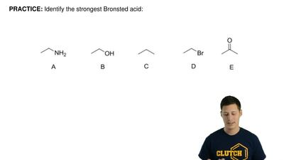 Identify the strongest Bronsted acid:    ...