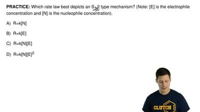 Which rate law best depicts an SN2 type mechanism? (Note: [E] is the electrop...