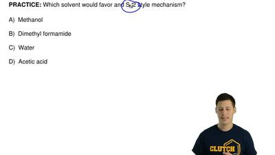 Which solvent would favor and SN2 style mechanism?  A) Methanol  B) Dimethyl...